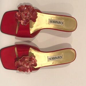 Red satin slides with sequin flower detail 7.5